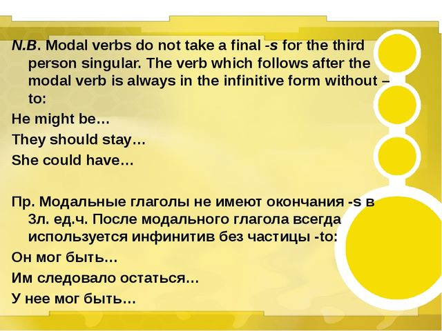 N.B. Modal verbs do not take a final -s for the third person singular. The v...