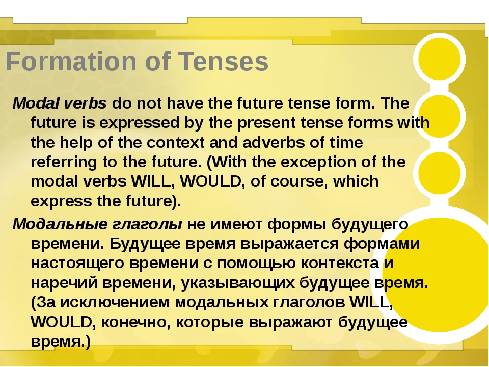 Formation of Tenses Modal verbs do not have the future tense form. The future...