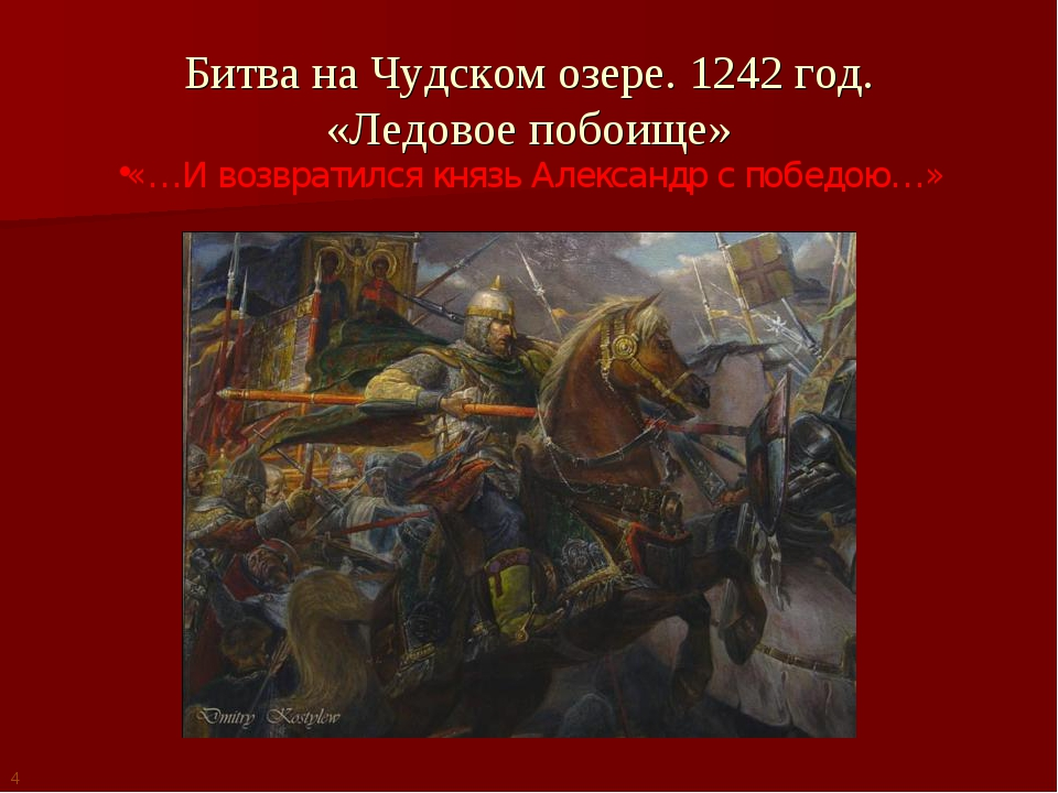 Битва на Чудском озере. 1242 год. «Ледовое побоище» «…И возвратился князь Але...