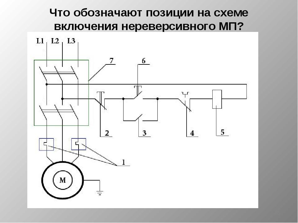 Что обозначают позиции на схеме включения нереверсивного МП? *