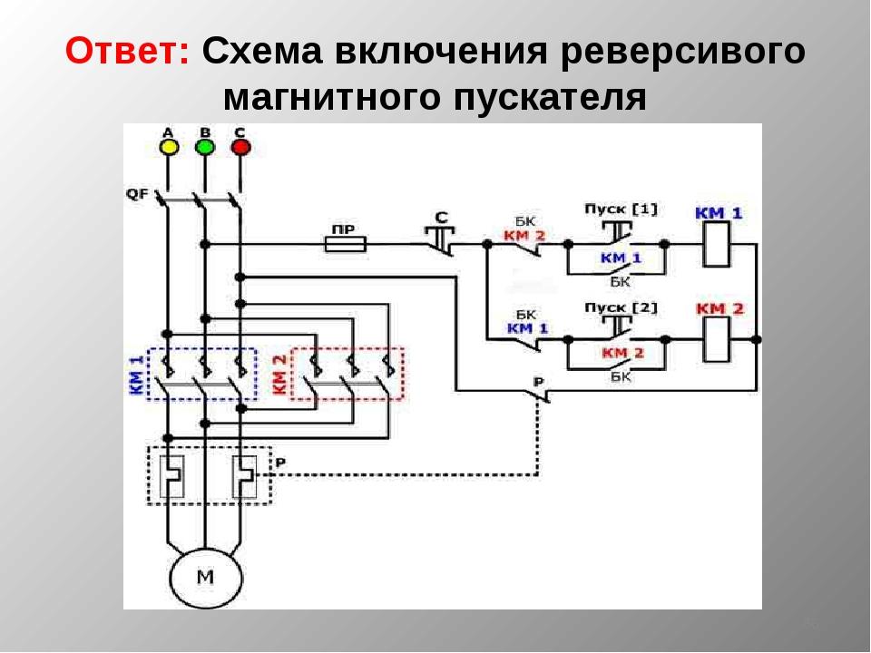 Ответ: Схема включения реверсивого магнитного пускателя *