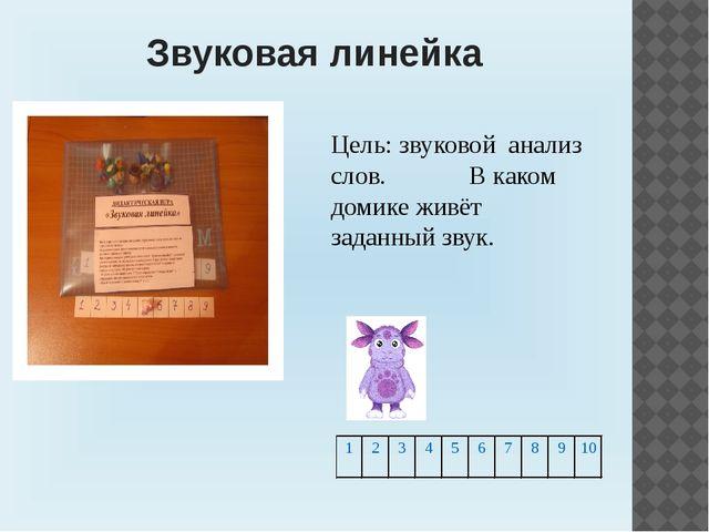 Звуковая линейка Цель: звуковой анализ слов. В каком домике живёт заданный з...