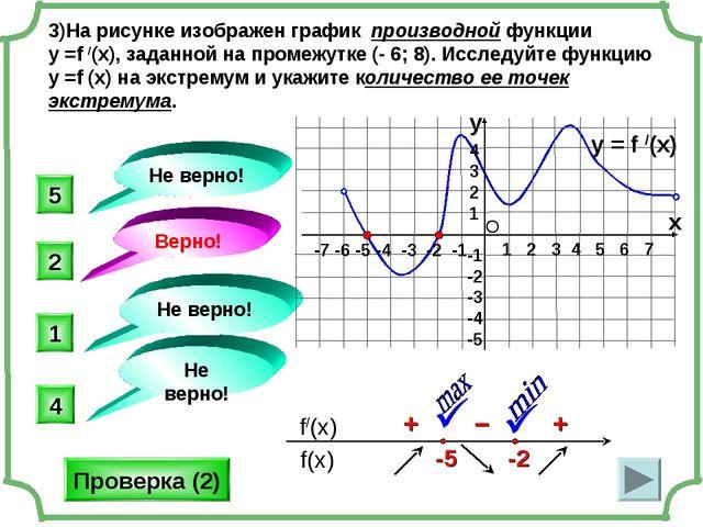 3)На рисунке изображен график производной функции у =f /(x), заданной на пром...