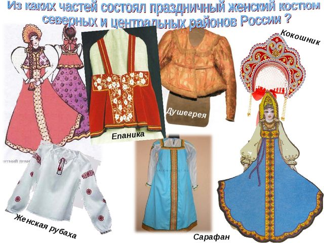 Кокошник Женская рубаха Сарафан Епаника Душегрея