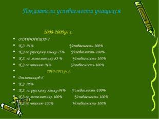 Показатели успеваемости учащихся 2008-2009уч.г. ОТЛИЧНИКОВ-7 К.З.-94% Успевае
