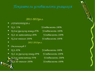Показатели успеваемости учащихся 2011-2012уч.г. ОТЛИЧНИКОВ-6 К.З.-75% Успевае