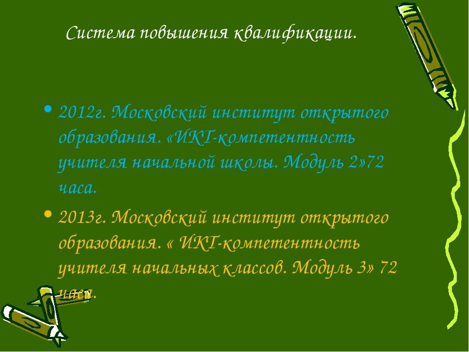 Система повышения квалификации. 2012г. Московский институт открытого образова...