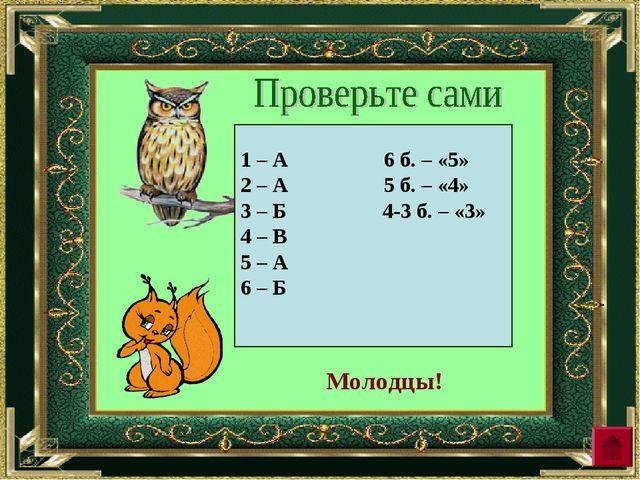 1 – А 6 б. – «5» 2 – А 5 б. – «4» 3 – Б 4-3 б. – «3» 4 – В 5 – А 6 – Б Молодцы!