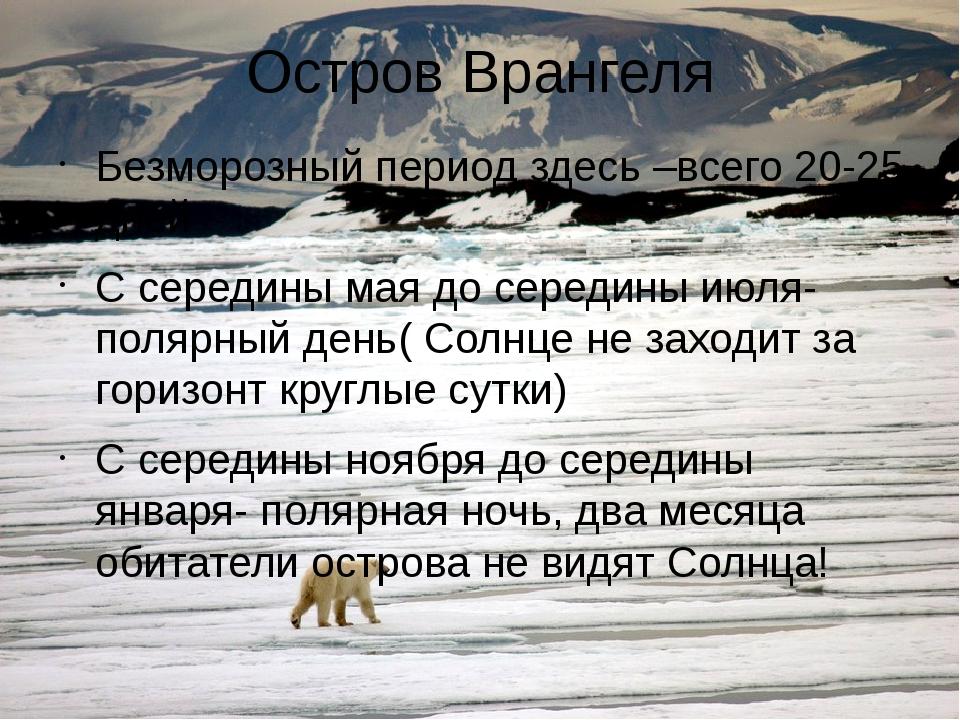 Остров Врангеля Безморозный период здесь –всего 20-25 дней С середины мая до...