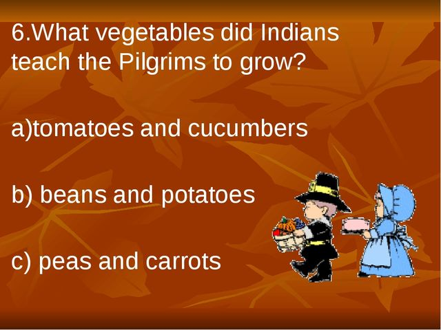 6.What vegetables did Indians teach the Pilgrims to grow? a)tomatoes and cucu...