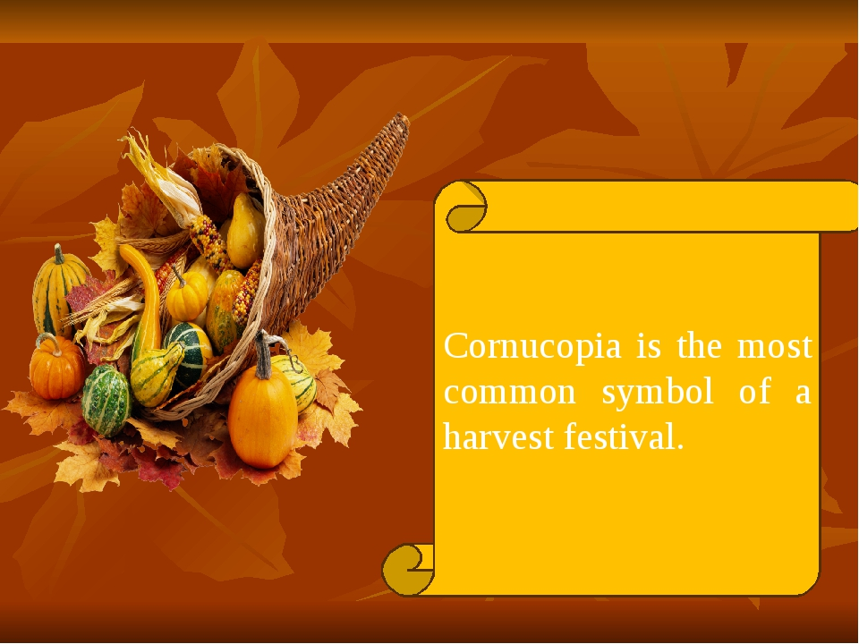 Cornucopia is the most common symbol of a harvest festival.