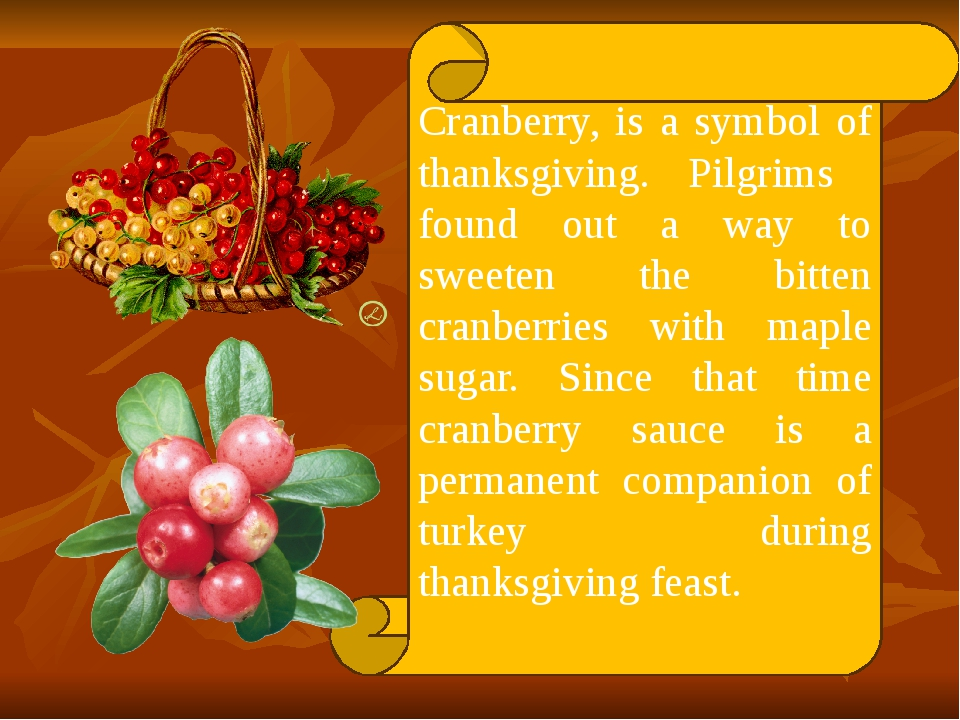 Cranberry, is a symbol of thanksgiving. Pilgrims found out a way to sweeten t...