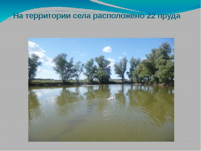 На территории села расположено 22 пруда