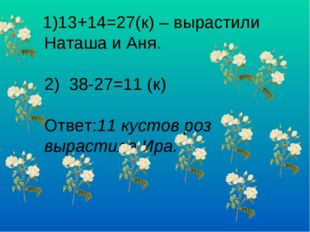 1)13+14=27(к) – вырастили Наташа и Аня. 2) 38-27=11 (к) Ответ:11 кустов роз