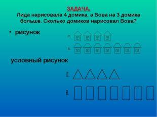 ЗАДАЧА. Лида нарисовала 4 домика, а Вова на 3 домика больше. Сколько домиков