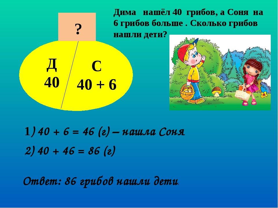 Дима нашёл 40 грибов, а Соня на 6 грибов больше . Сколько грибов нашли дети?...