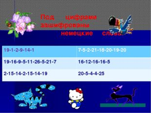 Под цифрами зашифрованы немецкие слова. 19-1-2-9-14-17-5-2-21-18-20-19-20 19