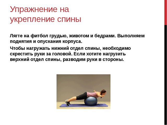 Упражнение на укрепление спины Лягте на фитбол грудью, животом и бедрами. Вып...