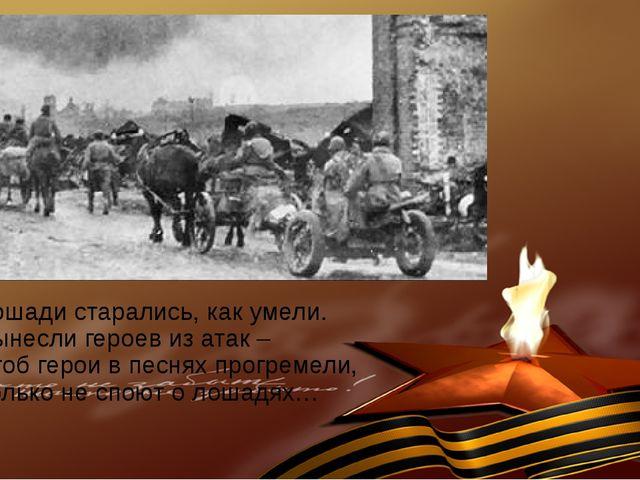 Лошади старались, как умели. Вынесли героев из атак – Чтоб герои в песнях про...