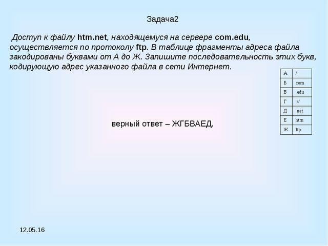 * Задача2 Доступ к файлу htm.net, находящемуся на сервере com.edu, осуществля...