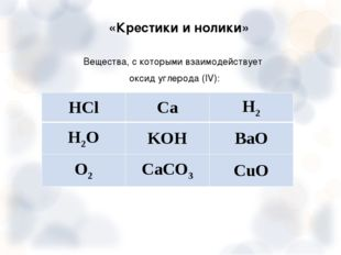 «Крестики и нолики» Вещества, с которыми взаимодействует оксид углерода (IV)