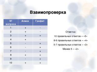 Взаимопроверка Отметка: 10 правильных ответов – «5» 8-9 правильных ответов –