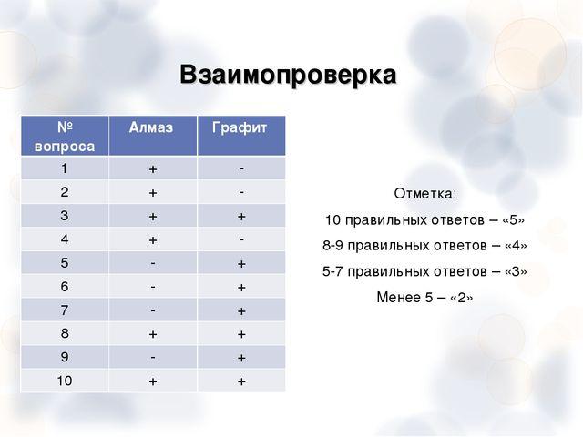 Взаимопроверка Отметка: 10 правильных ответов – «5» 8-9 правильных ответов –...