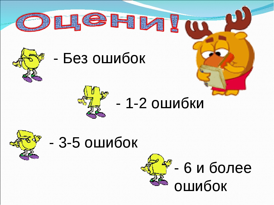 - Без ошибок - 1-2 ошибки - 3-5 ошибок - 6 и более ошибок
