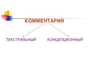 КОММЕНТАРИЙ ТЕКСТУАЛЬНЫЙ КОНЦЕПЦИОННЫЙ