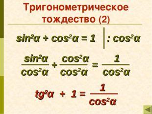 Тригонометрическое тождество (2) sin2α + cos2α = 1