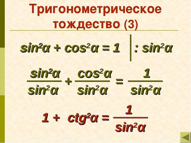 Тригонометрическое тождество (3) sin2α + cos2α = 1