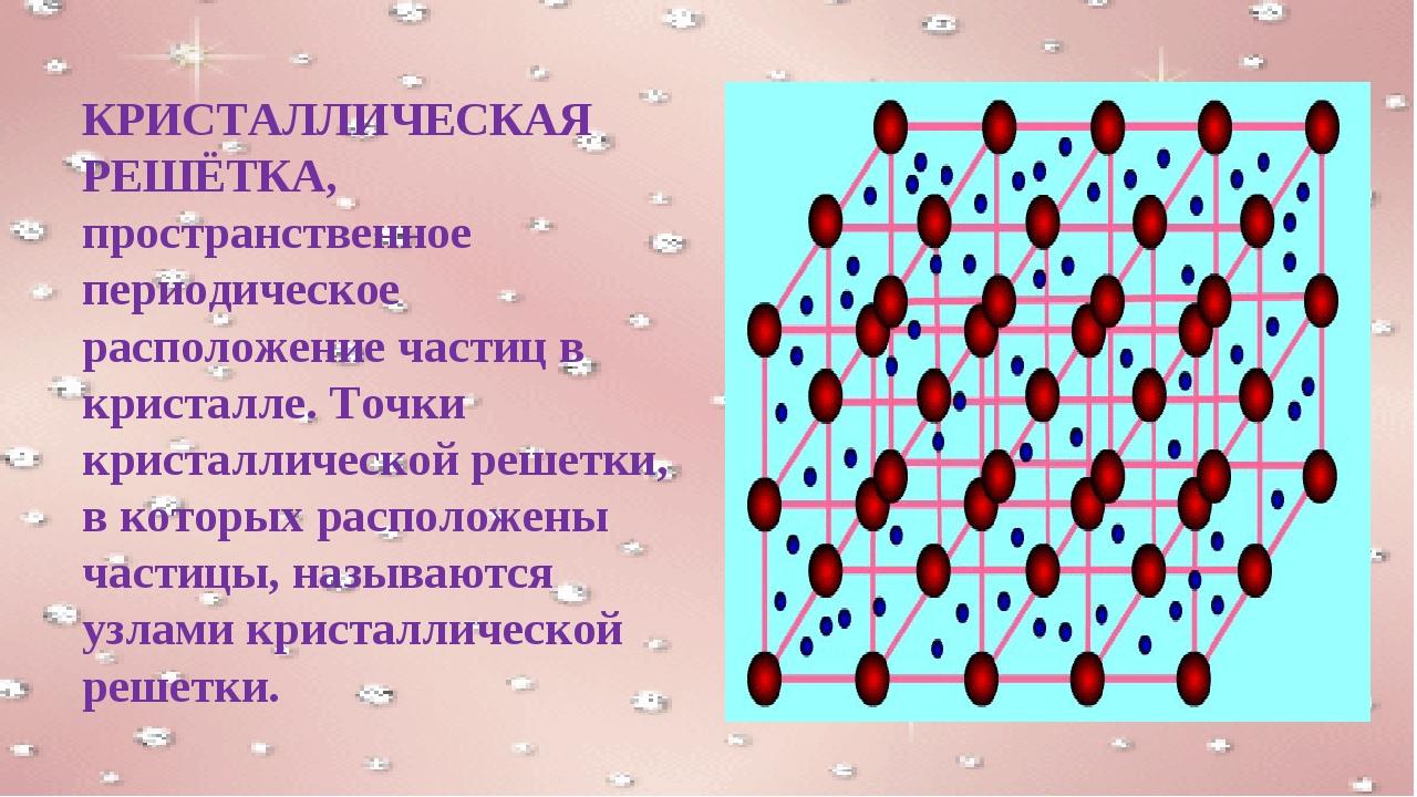 КРИСТАЛЛИЧЕСКАЯ РЕШЁТКА, пространственное периодическое расположение частиц в...
