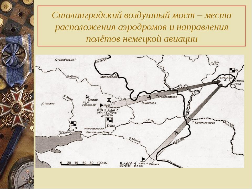 Сталинградский воздушный мост – места расположения аэродромов и направления...