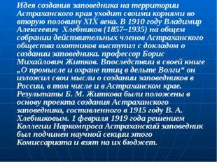 Идея создания заповедника на территории Астраханского края уходит своими корн