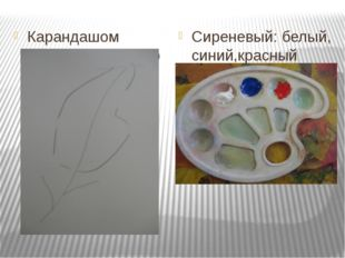 Карандашом нарисовать контур Сиреневый: белый, синий,красный