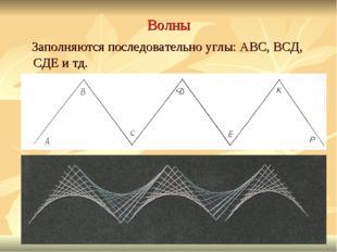 Волны Заполняются последовательно углы: АВС, ВСД, СДЕ и тд.