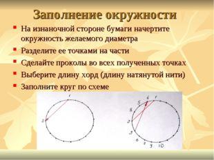 Заполнение окружности На изнаночной стороне бумаги начертите окружность желае