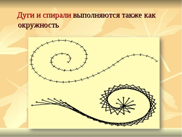 Дуги и спирали выполняются также как окружность