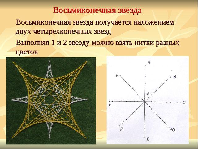 Восьмиконечная звезда Восьмиконечная звезда получается наложением двух четыре...