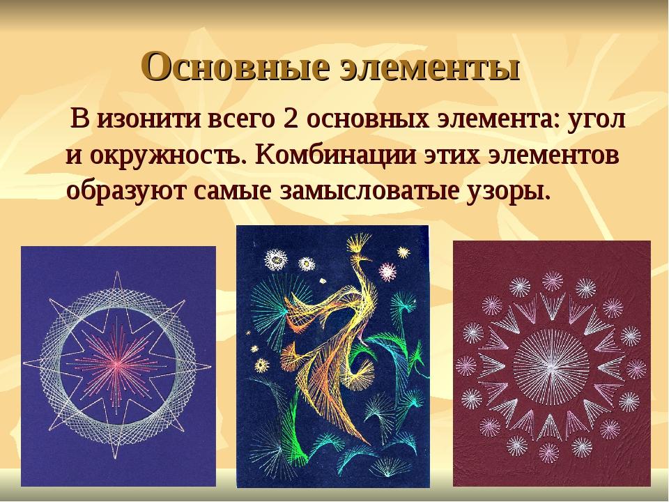 Основные элементы В изонити всего 2 основных элемента: угол и окружность. Ком...