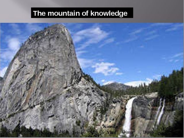The mountain of knowledge Olga Rita Nastya Ann Kamila Irina Dasha Julia Rigin...