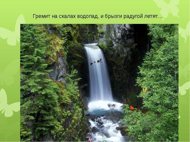 Гремит на скалах водопад, и брызги радугой летят…