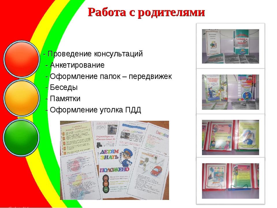 Работа с родителями - Проведение консультаций - Анкетирование - Оформление па...