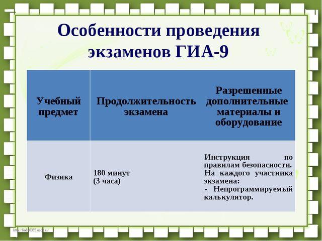 Особенности проведения экзаменов ГИА-9 Учебный предметПродолжительность экза...