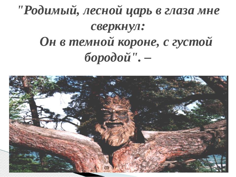 """""""Родимый, лесной царь в глаза мне сверкнул: Он в темной короне, с густой боро..."""