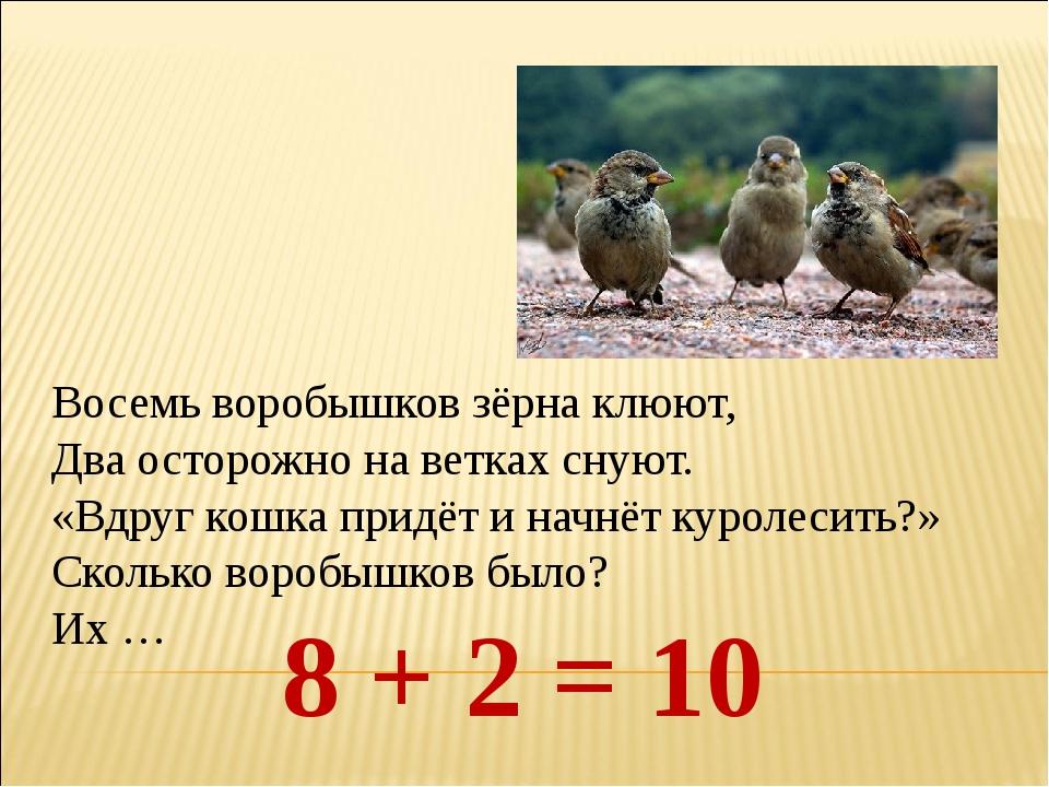 Восемь воробышков зёрна клюют, Два осторожно на ветках снуют. «Вдруг кошка пр...
