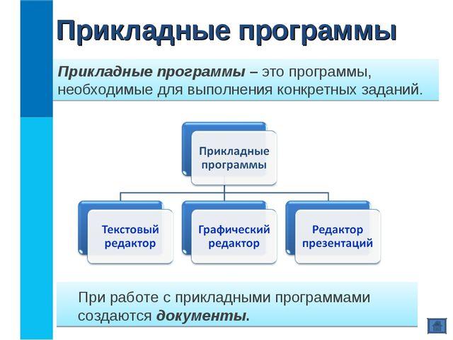Прикладные программы – это программы, необходимые для выполнения конкретных з...