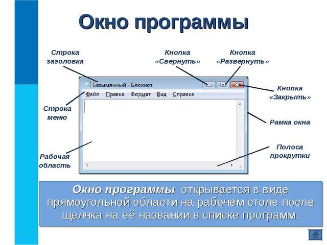 Окно программы Окно программы открывается в виде прямоугольной области на раб...