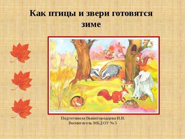 Подготовила Вышегородцева И.В. Воспитатель МБДОУ № 5 Как птицы и звери готов...