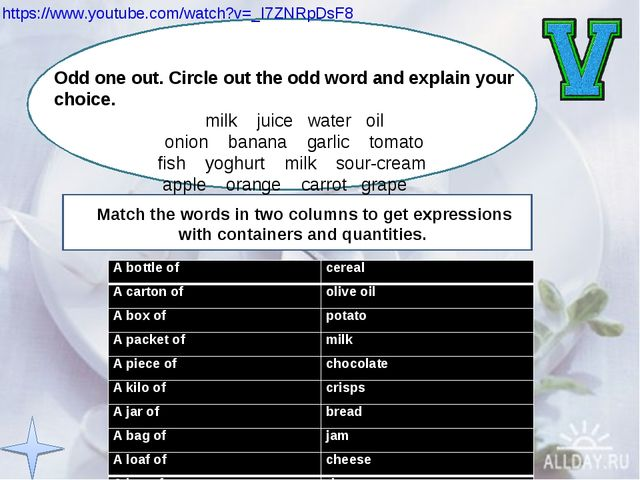 https://www.youtube.com/watch?v=_I7ZNRpDsF8  Odd one out. Circle out the odd...